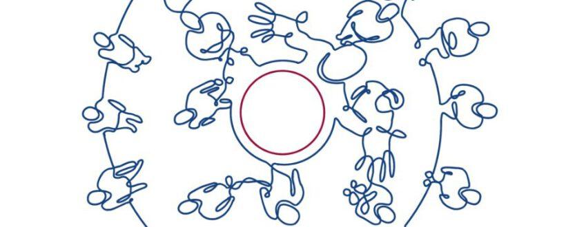 One line drawing mensen in kring met stip breed